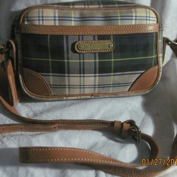 POLO RALPH LAUREN Plaid Canvas   Leather Handbag. M 5a6fd0429cc7efa0d2d19ddc 29c716ac138cd
